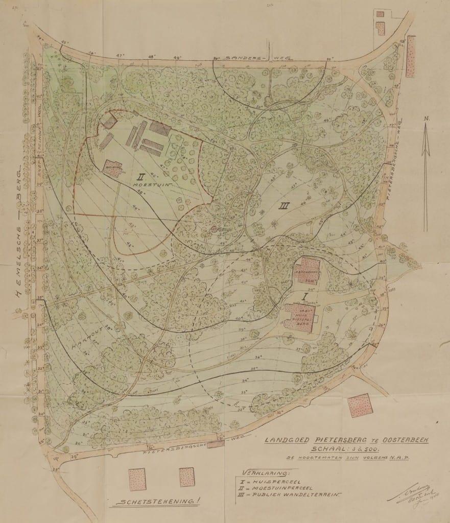 Een ontwerp van Samuel Voorhoeve voor herinrichting van het gebied rond te Pietersberg. Huis en tuin waren toen in handen gekomen van de gemeente Renkum.